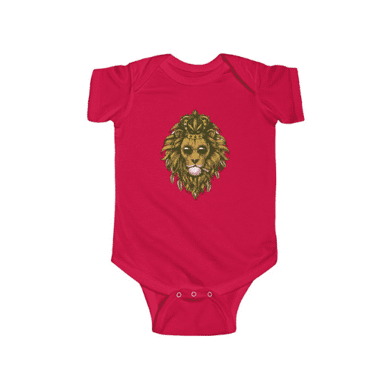 Crowned Stoner Lion Smoking Weed Badass 420 Newborn Clothes