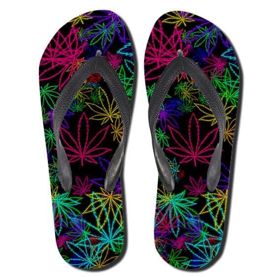 Vibrant Marijuana Leaves Outline Multicolor Art Slippers
