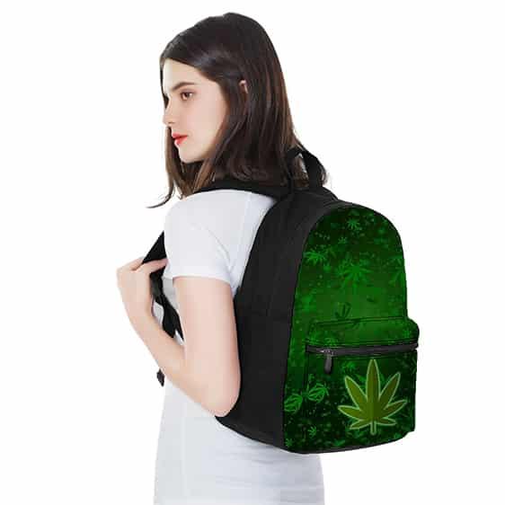 Vibrant Marijuana Leaves Pattern Green 420 Rucksack
