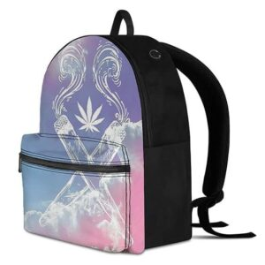 Weed Criss Cross Joint Gradient Purple Pink 420 Backpack