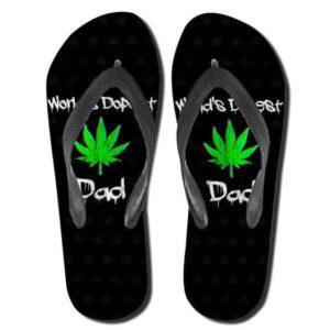 World Dopest Dad Cannabis Black 420 Flip Flops Sandals