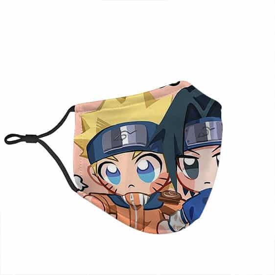 Young Naruto and Sasuke Chibi Friends Cute Face Mask