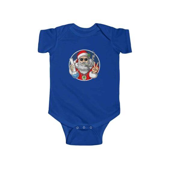 Hippie Look Santa Claus Smoking Weed Blunt Dope Infant Onesie