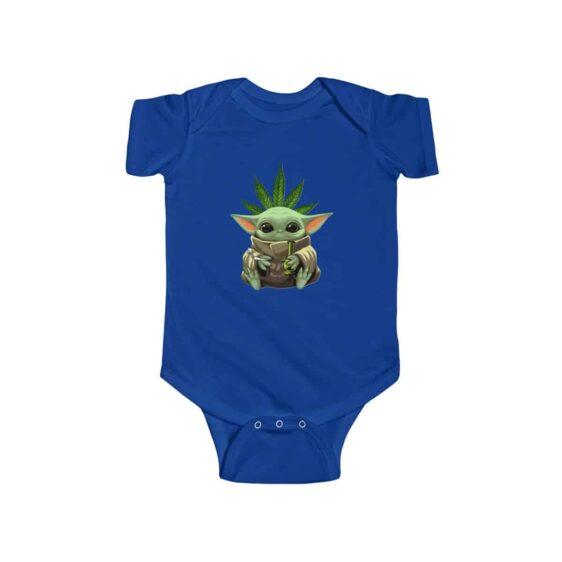 Cute Baby Yoda Holding Bong and Smoking Weed 420 Baby Onesie