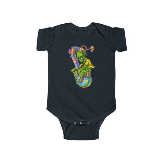 Trippy Alien Stoner Riding Bong Cool 420 Weed Infant Bodysuit