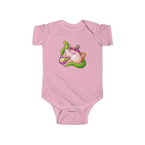 Pink Kettle Hitting Bong Trippy Marijuana Newborn Romper