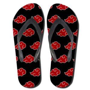 Akatsuki Red Cloud Symbol Pattern Flip Flops Sandals