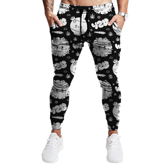 Awesome 420 Weed and Bong Pattern Black White Joggers