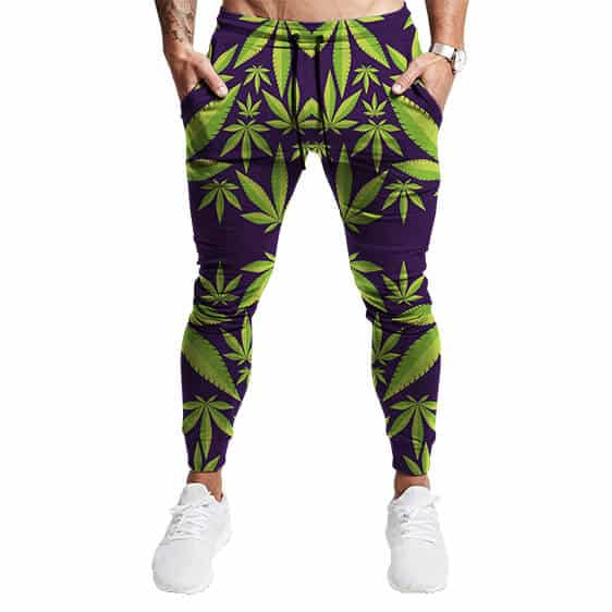 Awesome Cannabis Weed Leaves Pattern Purple 420 Joggers