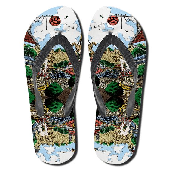 Awesome Village Hidden In the Leaf Flip Flop Sandals