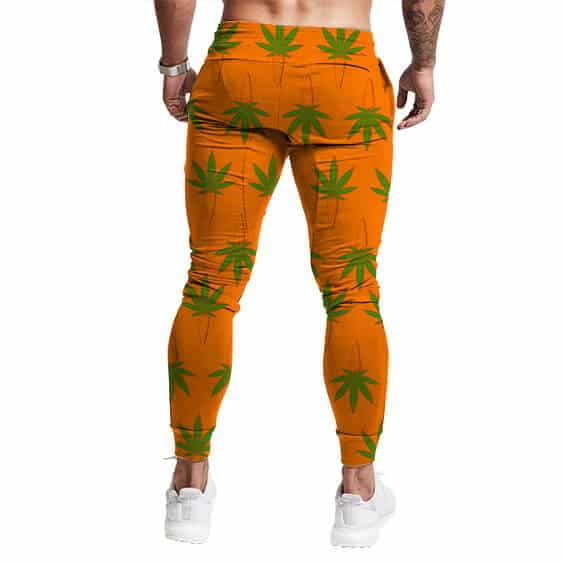 Cannabis Leaf Carrot Strain Pattern Cool Orange Sweatpants