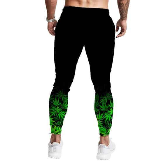 Cannabis Marijuana Leaves Fade To Black Unique Sweatpants