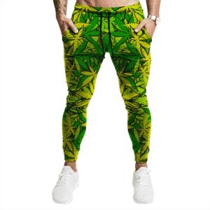Cannabis Sativa Hemp Pattern Neon Green Weed Jogger Pants