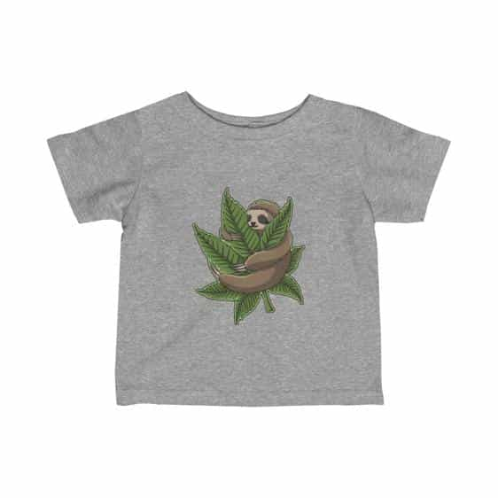 Chill Sloth Hugging Marijuana Leaf 420 Weed Baby T-shirt