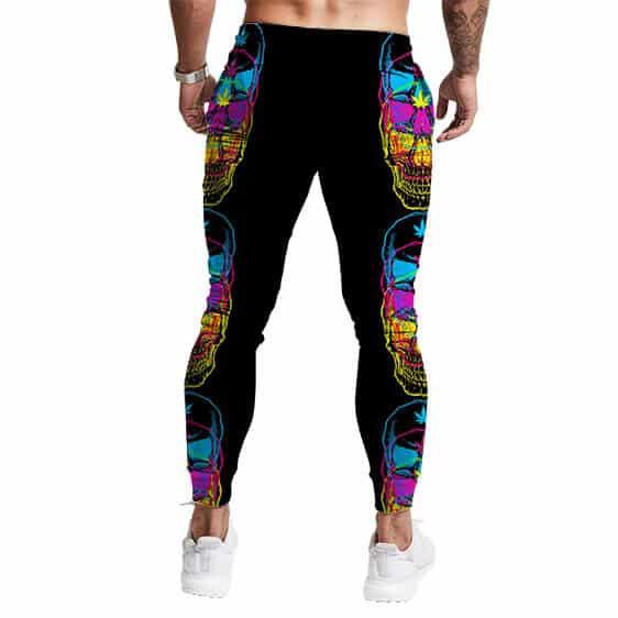 Colorful Trippy Skull Marijuana Art Black 420 Sweatpants