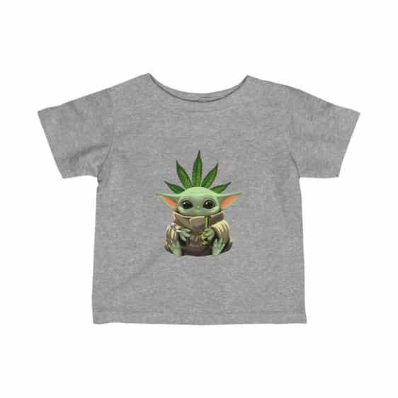 Cute Baby Yoda Holding Bong and Smoking Weed Newborn Tees