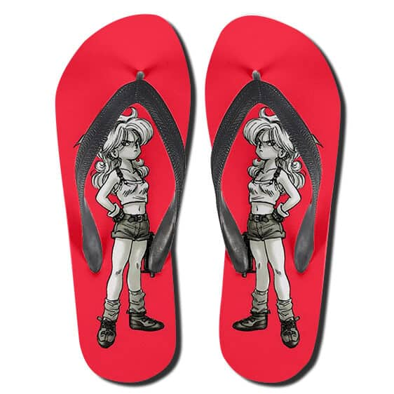 Cute Launch Monochrome Art DBZ Red Flip Flop Slippers