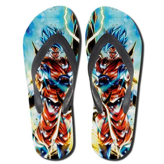 DBZ Goku Dope Super Saiyan Blue Kaioken Form Flip Flops