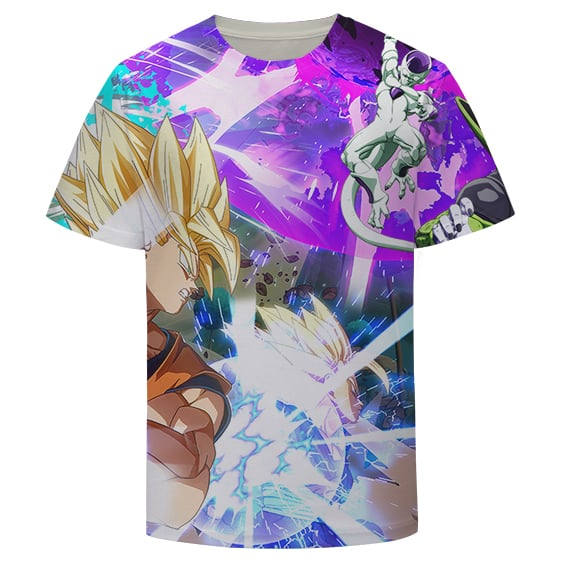 DBZ Goku and Vegeta Vs Frieza and Cell Vibrant T-shirt