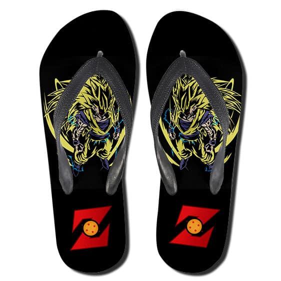DBZ Son Goku Super Saiyan 3 Form Black Thong Sandals