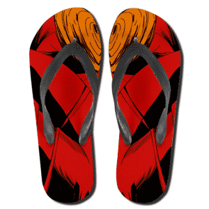 Dope Obito Uchiha All Over Print Red Flip Flop Sandals