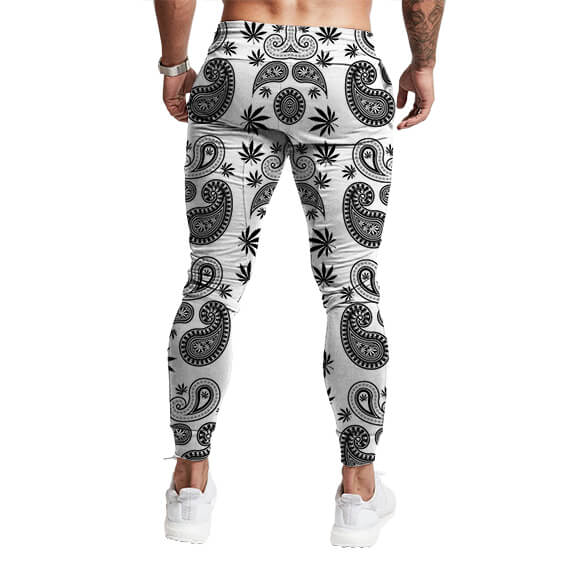 Gangster Paisley & Weed Overall Print Badass 420 Joggers