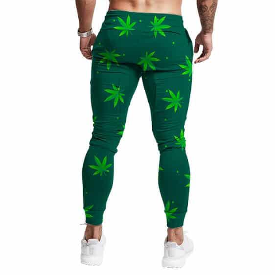 Green Cannabis Weed Pattern Awesome 420 Marijuana Sweatpants