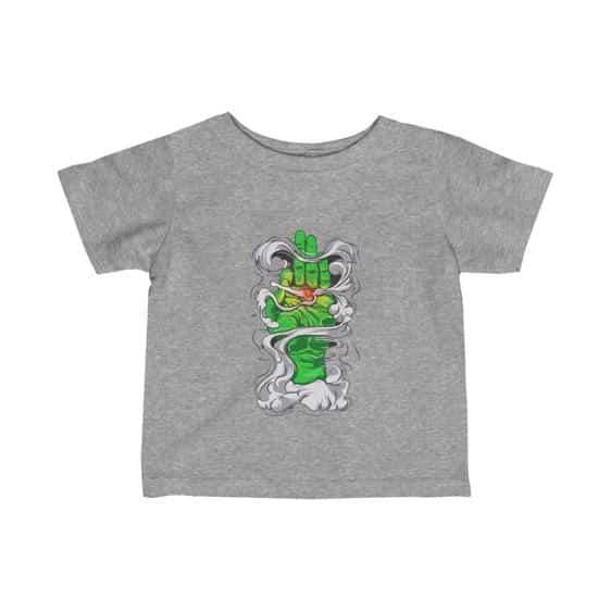 Green Hand Smoking Marijuana Joint Art Sick 420 Baby Shirt