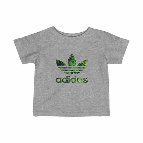 Green Leafy 420 Weed Adidas Logo Marijuana Baby Tees