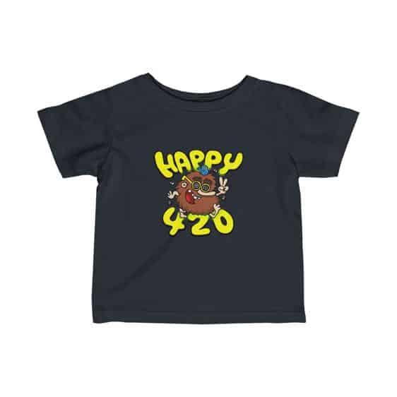 Happy 420 Stoner Cave Man Stylish Marijuana Infant Tees