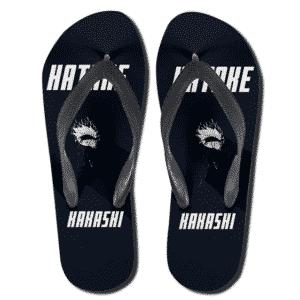 Hatake Kakashi Minimalist Art Black Flip Flop Slippers