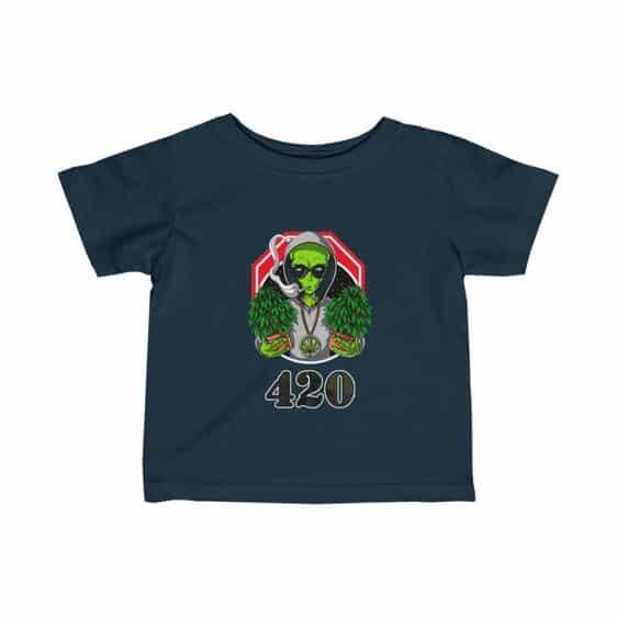 Hippie Alien Holding Cannabis Plant Dope 420 Newborn Tees
