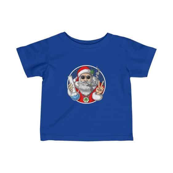 Hippie Look Santa Claus Smoking Weed Blunt Infant Shirt