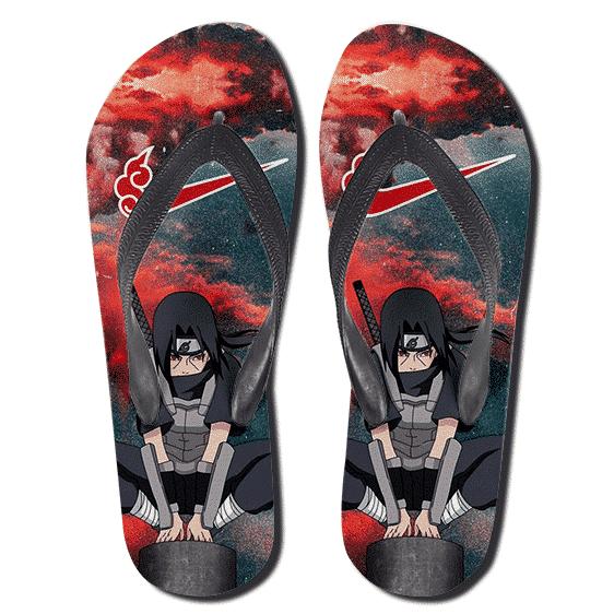 Itachi Uchiha Red Cloud Logo Nike Parody Thong Sandals