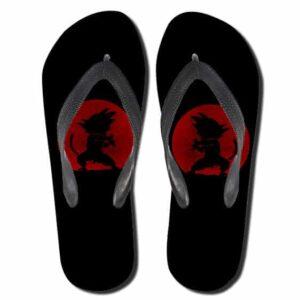 Kid Goku Kamehameha Red Moon Silhouette Black Thong Sandals