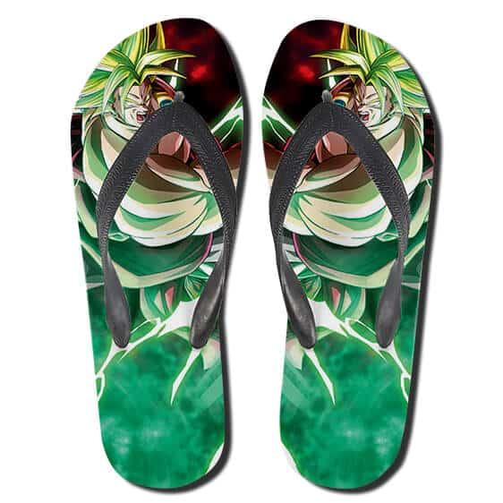 Legendary Super Saiyan Form Broly Green Aura DBZ Flip Flops