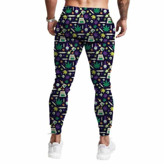 Marijuana Weed Bong Pattern Design Stylish Jogger Pants