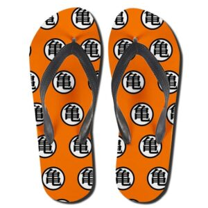 Master Roshi Kanji Symbol Pattern Orange Thong Sandals