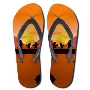 Master Roshi Krillin and Kid Goku Sunset Silhouette Slippers