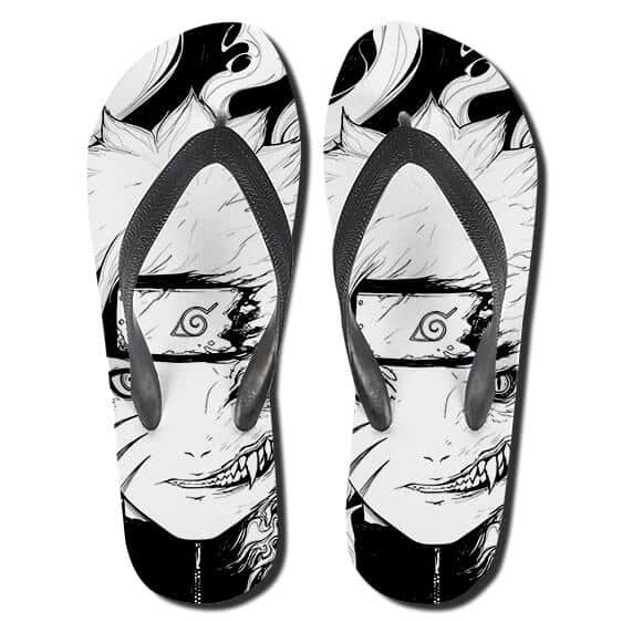 Naruto And Kurama Merge Monochrome Art Thong Sandals