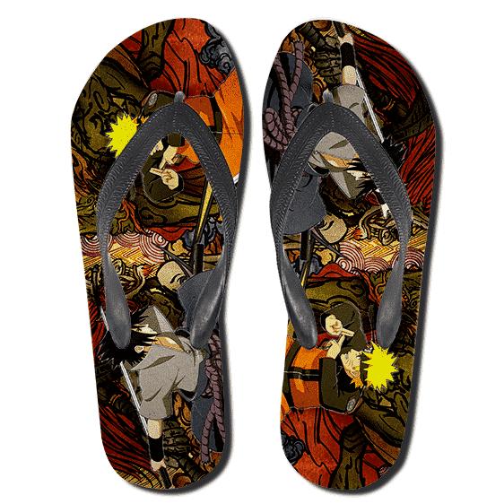 Naruto Vs Sasuke Japanese Style Art Background Slippers