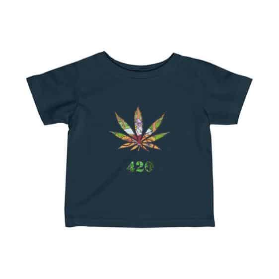 Old Stoner Man Inside Marijuana Leaf Cool Baby T-shirt
