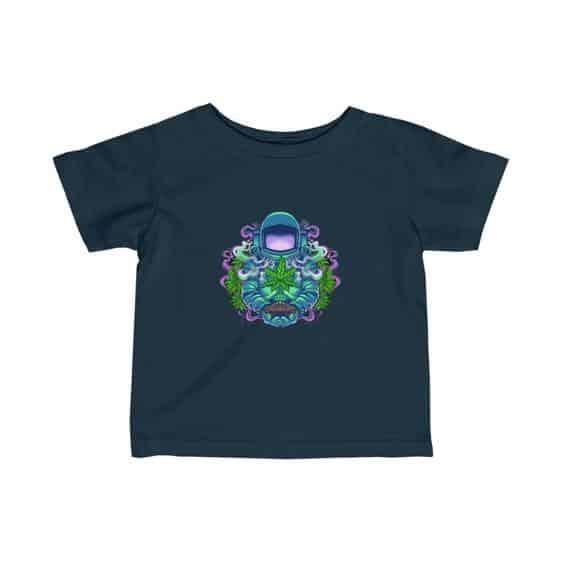 Psychedelic Astronaut Holding Marijuana Plant Baby Shirt