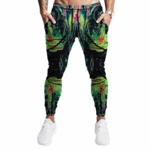 Psychedelic Green Tie Dye Weed Haze Art Jogger Pants