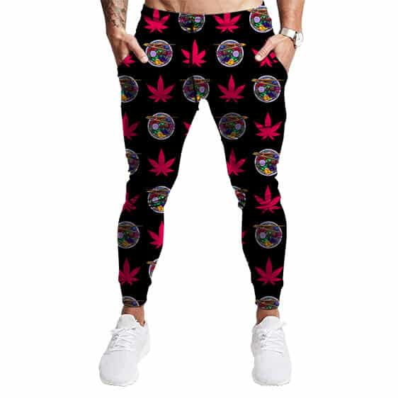 Psychedelic Ramen Noodles & Weed Pattern Dope Jogger Pants