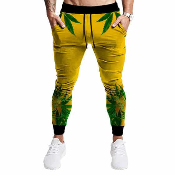 Realistic Cannabis Leaves Design Cool Yellow Jogger Pants