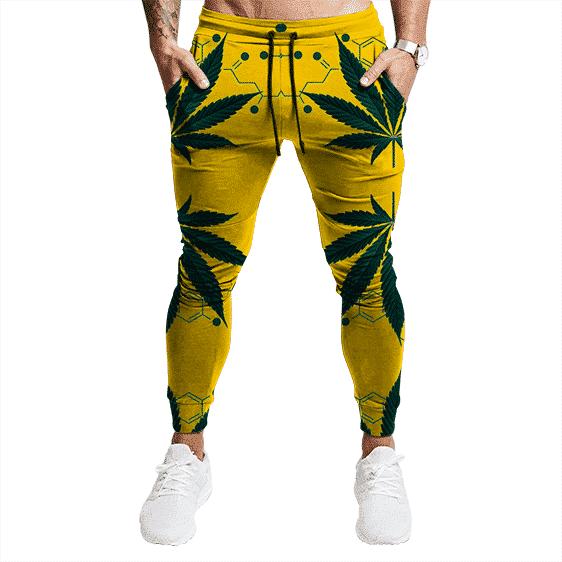 Realistic Marijuana Leaves Design Yellow Tracksuit Bottoms