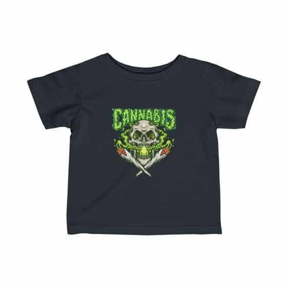 Skull Smoking Cannabis Badass Marijuana 420 Baby Shirt