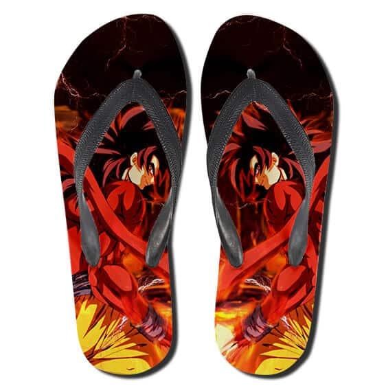 Son Goku Super Saiyan 4 Anime Style Art Red Flip Flops