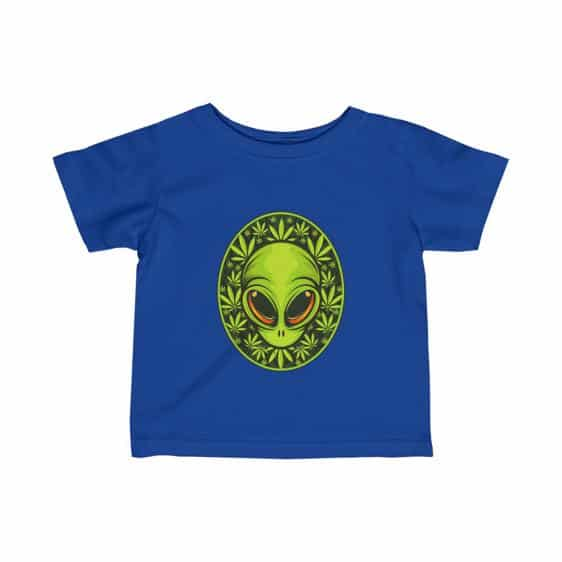 Stoned Alien Head With Cannabis Leaves Cool Baby Shirt